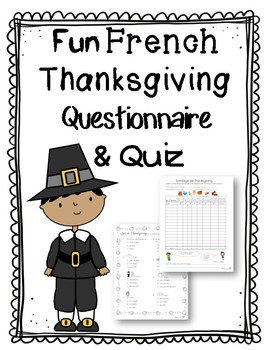 French Thanksgiving questionnaire and quiz