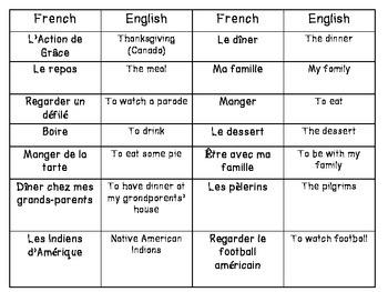 French Thanksgiving vocabulary, puzzle, cartoon, bingo game set