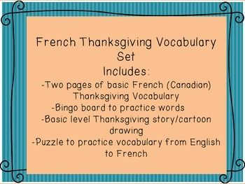 French Thanksgiving vocabulary, puzzle, cartoon, bingo game set
