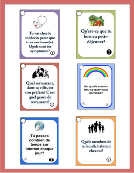 French themed vocabulary speaking prompt cards - GROWING BUNDLE