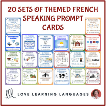 French themed vocabulary speaking prompt cards BUNDLE