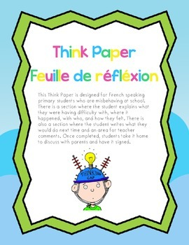 French Think Paper - Feuille de réfléxion pour le comportement