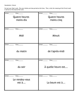 French Time Telling Unit - Compatible with Discovering French Bleu