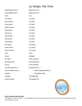 French Time Vocabulary List