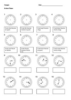 French Time Worksheets