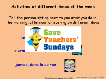 French Times of the day Lesson plan, PowerPoint (with audio), and Worksheet
