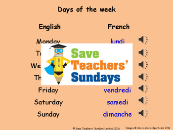 French Times of the day Lesson plan, PowerPoint (with audi