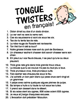 French Tongue Twisters Time Saver!