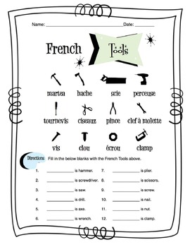 French Tools Worksheet Packet