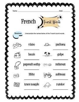 French Tourist Items Worksheet Packet