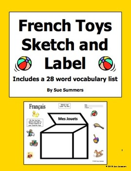 French Toy Box Sketch and Label Activity with Vocabulary List