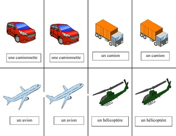 French Transportation-Les Transports Vocabulary Pair Cards and Activities