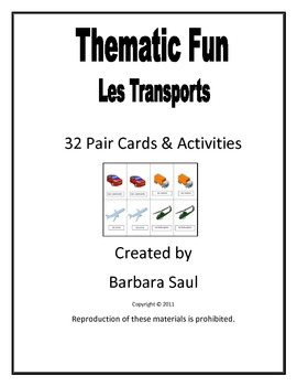 French Transportation-Les Transports Vocabulary Pair Cards