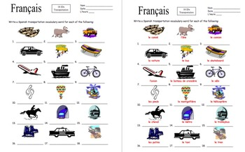 French Transportation Vocabulary 18 IDs - Le Transport