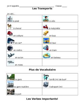 French Transportation Vocabulary Notes