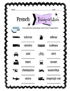 French Transportation Worksheet Packet