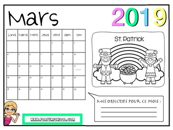 Calendrier Francais 2019.French Twelve Months Coloring Calendar Calendrier A Colorier 2019 En Francais