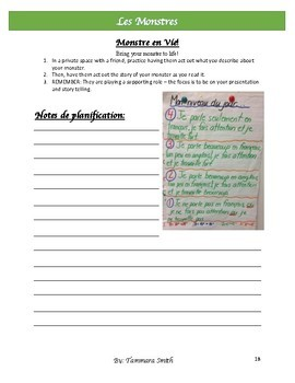 MONSTERS French Unit~ Adjectives, Avoir, Etre, Writing, Speaking, Reading, Drama