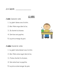 French- VERBS: conjgated vs. infinitive- two verbs in a row- *printable*