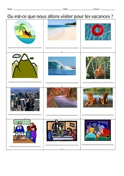 French Vacation Places Les Vacances Vocabulary Notes