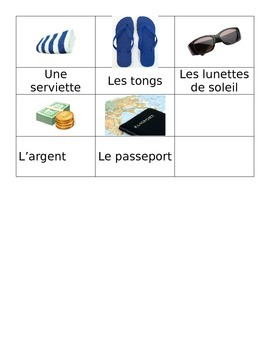 French Vacation Vocabulary Memory Game