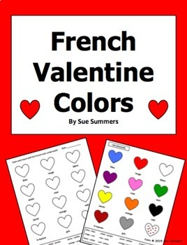 French Valentine Colors Activity Worksheet