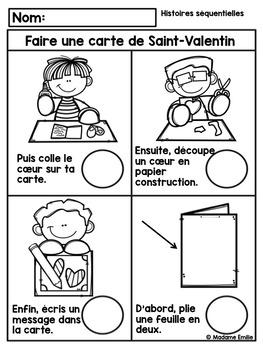 French Valentine Sequencing activity/ Histoires séquentielles (St-Valentin)