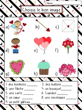 Saint Valentin - French Valentine's Day Literacy Bundle- Writing and Vocabulary