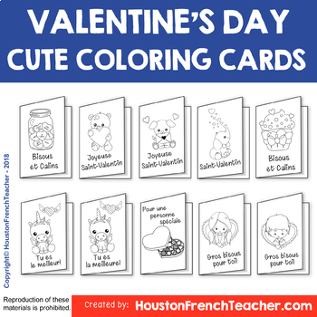 French Valentine's Day Cards - Carte de Saint Valentin (10 versions)