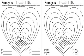 French Valentine's Day Color by Number Activities - Saint Valentin