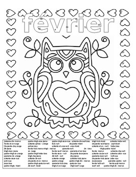 French Valentine S Day February Color By Number Page 3 Forms