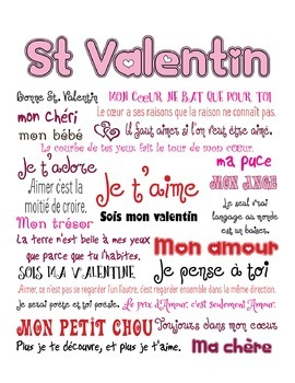 French Valentine's Day Subway Art Poster and Vocabulary Sheet