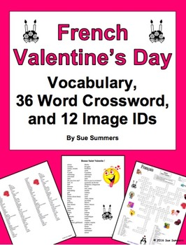 French Valentine's Day Vocabulary, 36 Word Crossword, and