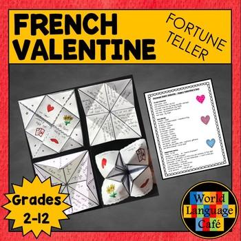 French Saint-Valentin Vocabulary, Fortune Teller, Cootie Catcher Activity
