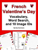 French Valentine's Day Word Search Puzzle, Vocabulary, and Image IDs