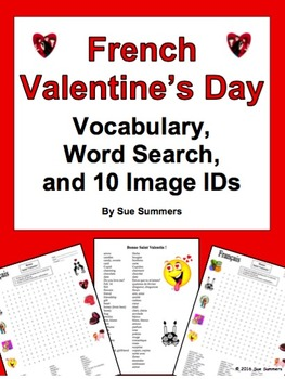 French Valentine's Day Word Search Puzzle, Vocabulary, and