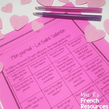 French Valentine's Day writing prompts / sujets d'écriture - la Saint Valentin