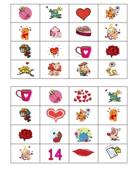 French Valentine's Day Bingo - St-Valentin Lotto