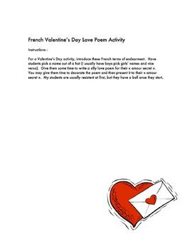 French Valentine's Day Love Poem Activity (Activité pour le St. Valentin)