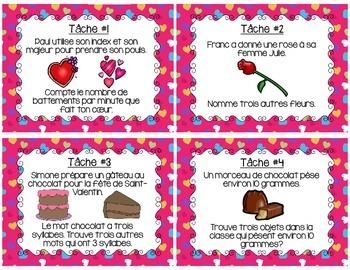 French Valentine's Day Task Cards - La Saint- Valentin (28 cartes à tâches)
