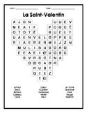 French Valentines Day Word Search - Mots cachés français sur la Saint-Valentin