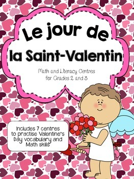 French Valentine's Day math and literacy centres centers Saint Valentin