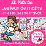 French Valentines Math Games, Worksheets and Bonus Word Searches
