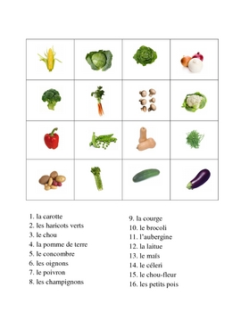 French Vegetable Vocabulary Activities - Magic Squares
