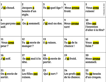 French Verb AVOIR - Scoot Activity!