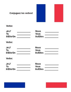 French Verb Conjugation Sheet