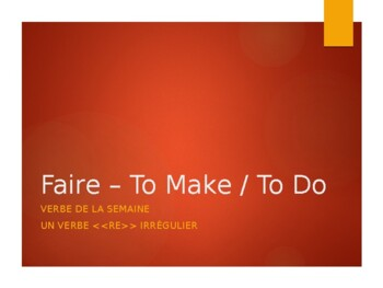 French Verb Conjugations: Faire