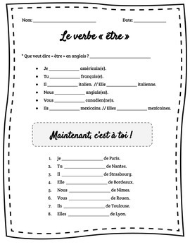 French Verb « être »  : Presentation, Activities, SCOOT, Assessments, and more!