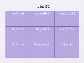 French Verb Etre and Avoir Tic Tac Toe Game