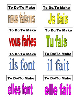 3bb959162 ... French Verb Flash Cards: AVOIR, FAIRE, ALLER, VENIR, ETRE with Subject